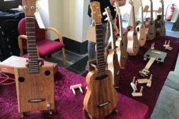 Volkers Bugle-Ukulele aus Koa hatte den klarsten Klang des Festivals